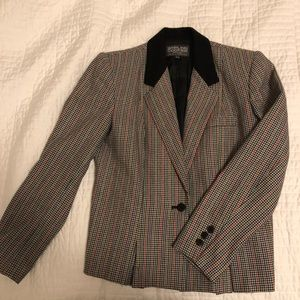 Vintage wool blend plaid blazer